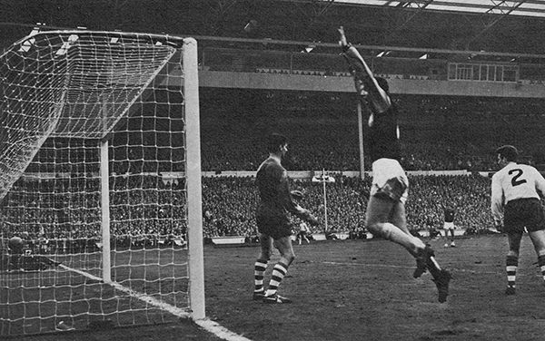 2nd May 1964. West Ham United wing half Ronnie Boyce celebrates scoring a last minute winner against Preston North End in the FA Cup Final, at Wembley.