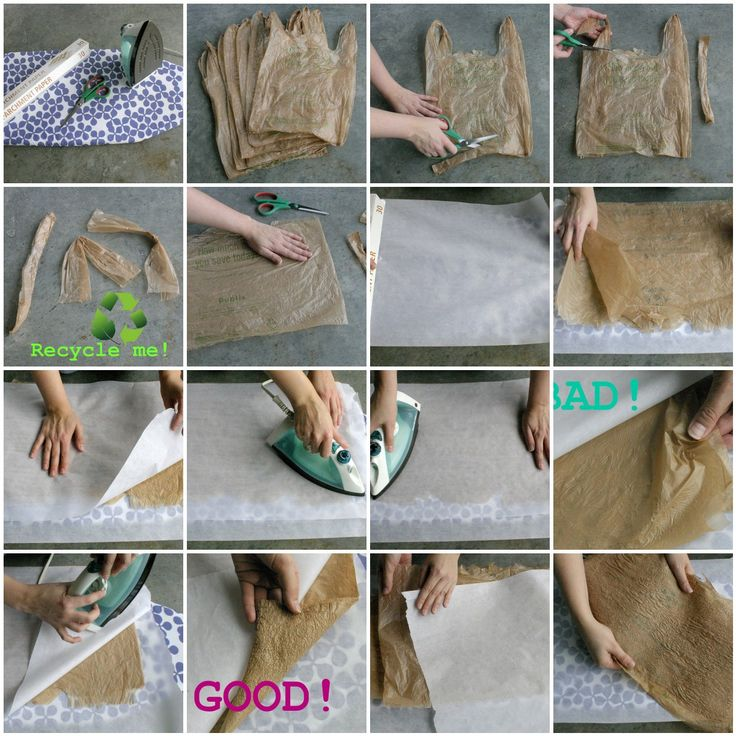 """Reuse plastic grocery bags; fuse together to make a """"fabric"""" which can be sewed with a machine or by hand."""