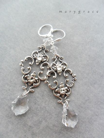 Art Nouveau Filigree Bridal Earrings with Baroque Style Crystals. $38.00, via Etsy.