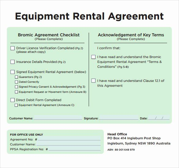 Equipment Rental Form Template Awesome Sample Equipment Rental