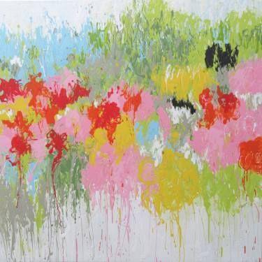 "Saatchi Art Artist Isabelle Pelletane; #Painting, ""Waiting Spring"" (100x100 cm) #art #abstract #spring #urban #contemporary #colorful #artwork #expressionism #garden #nature #design www.isabellepelletane.com"