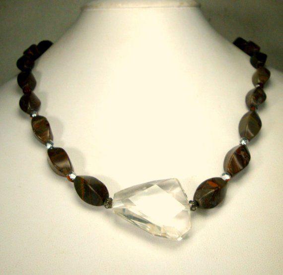 Ceramic Bead Necklace with Slab Stone Focal Handmade