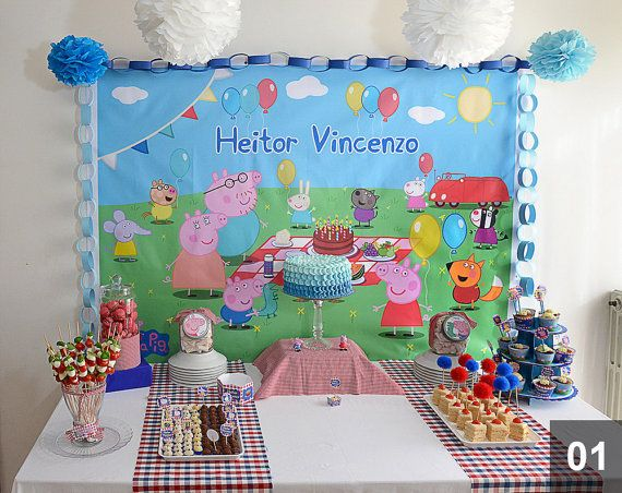 PEPPA PIG Backdrop Digital Customizable Printable by BolleBluParty $15.00 - only etsybolle@gmail.com