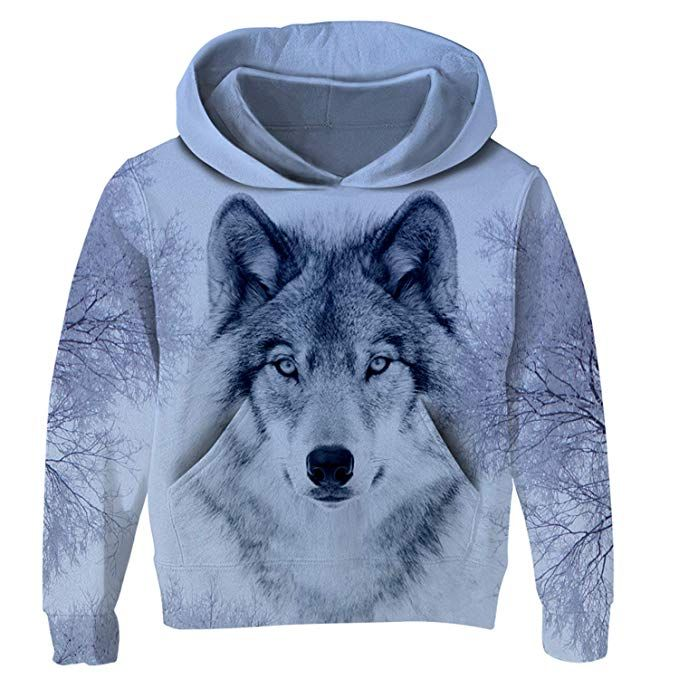 Fashion Kids Boys Girl Wolf 3D Print Hoodie Sweatshirt Pullover Jumper Coat Tops