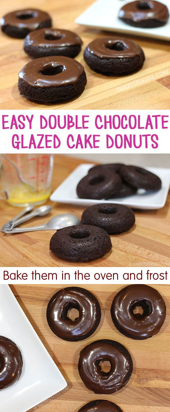 Easy Baked Double Chocolate Glazed Cake Donuts  Making cake donuts is as easy as making brownies or cupcakes. We start with a batter and put them in donut pans and then bake in the oven. These aren't traditional deep-dried donuts so they will have a different texture and taste so they are more like cake donuts. Devil's food cake mix to make ours but you can also make cake donuts from scratch with our recipe