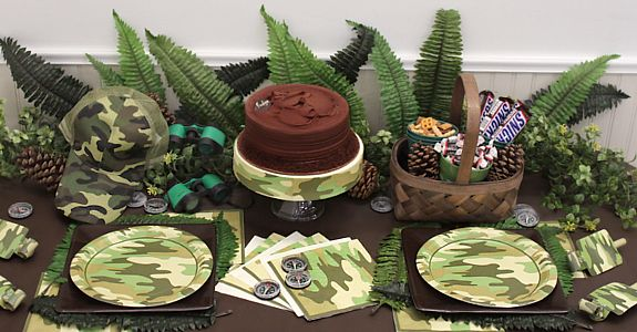 hunting party ideas | Camo Party Supplies, FREE shipping offer, 50% off tableware, and same ...