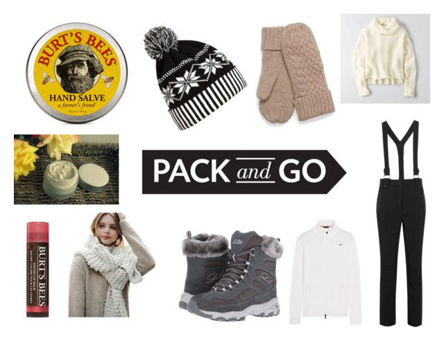 """Pack and Go: Winter Getaway"" by gothicvamperstein on Polyvore featuring American Eagle Outfitters, Topshop, KJUS, Skechers, WithChic, Burt's Bees, SkinCare and Packandgo"