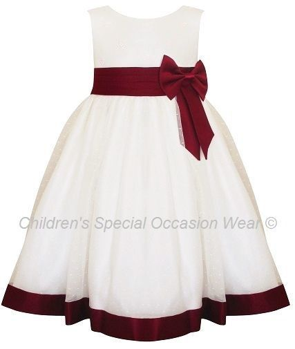 Girls Burgundy & Ivory Satin Bow Dress for a young or junior girl, perfect for a flower girl bridesmaid at a wedding, satin bodice with large burgundy satin bow and small burgundy pearls on the bodice, organza layers with polka dots and under layer tulle to create fullness, new, 18-24 to 10 years, UK made, high quality - perfect wedding wear for that special girl