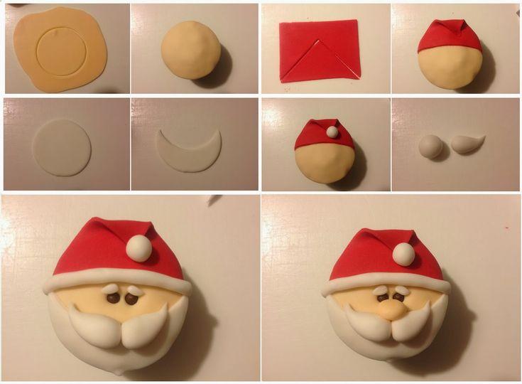 Para quem gosta de bolo: Passo a passo: cupcake de Papai Noel só com pasta americana                                                                                                                                                                                 Mais