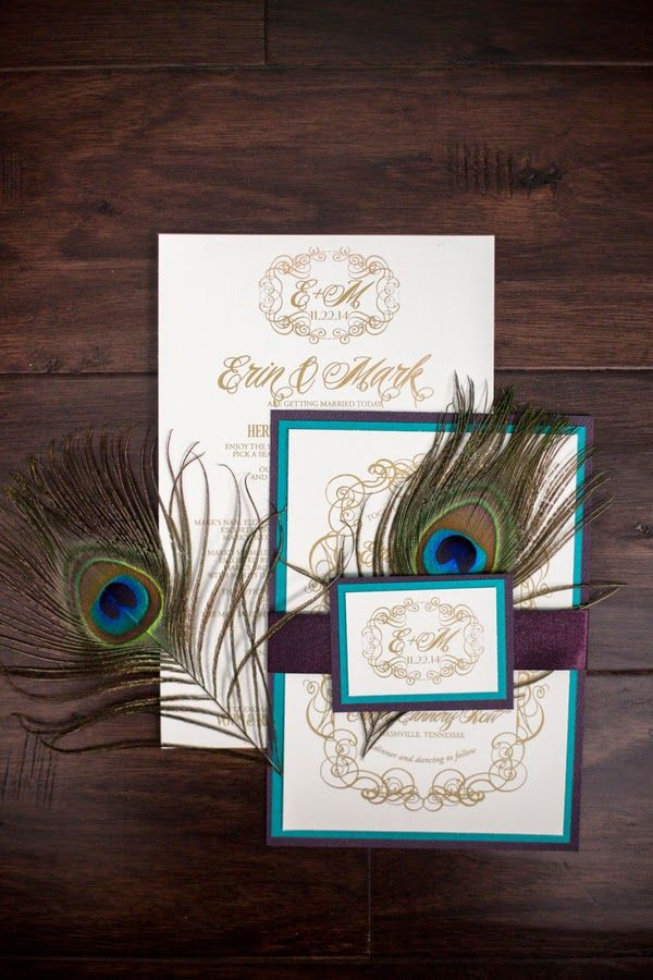 wedding invitations peacock theme%0A Peacock themed rustic meets modern wedding