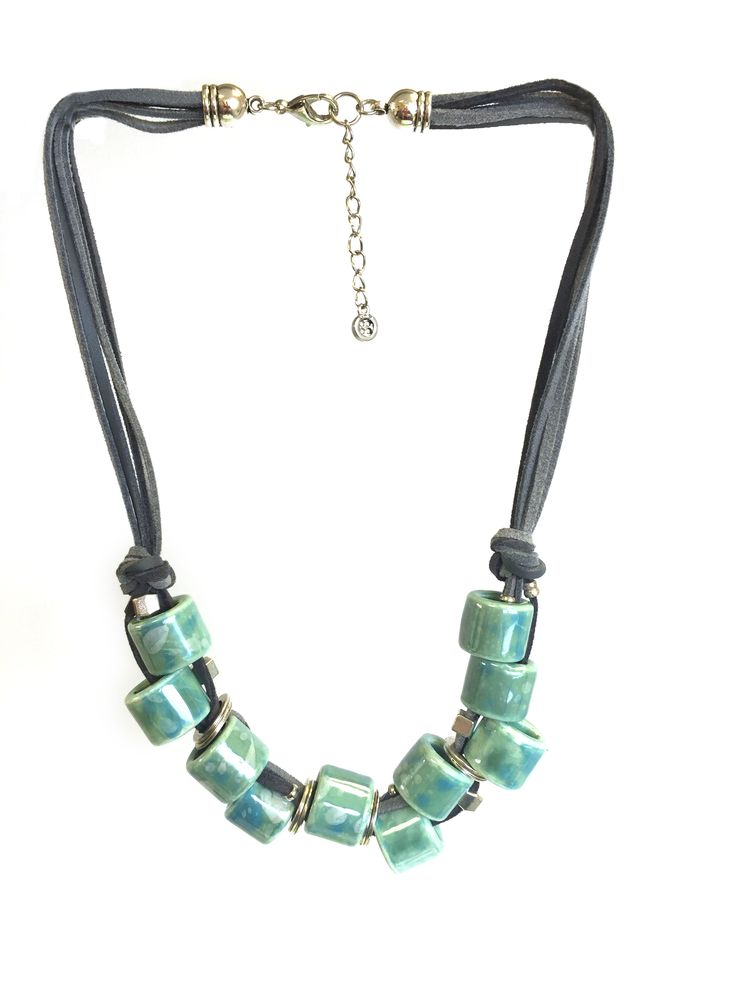 Margie One Button necklace with ceramic oval beads on suede cord row – short #aqua #grey #gorgeousgreens #necklace #accessories #onebutton Click to buy from the One Button shop.