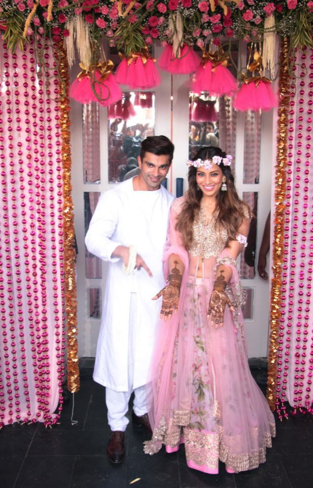 Bipasha Basu and Karan Singh Grover's mehendi function was held at Villa 69 in Mumbai on today, a day before their wedding.