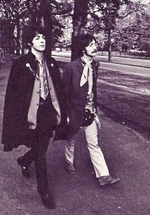 Paul McCartney and John Lennon. Love the late '60s early '70s British Rock style.