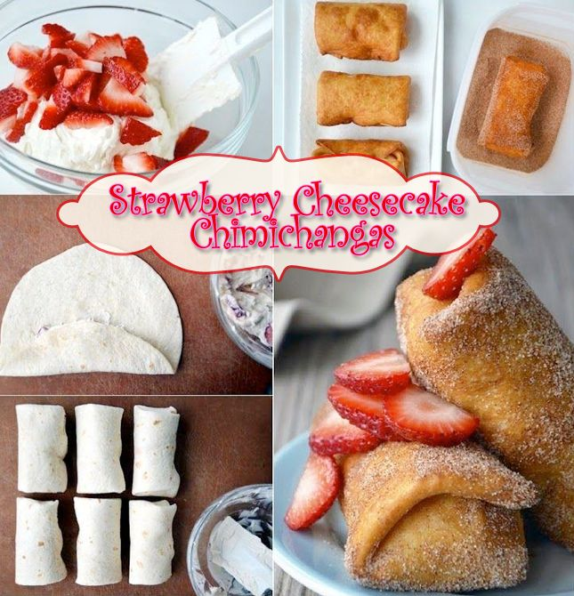 Strawberry Cheesecake Chimichangas 1 cream cheese 1/4 cup sour cream 1 Tablespoon plus 1/4 cup sugar 1 teaspoon vanilla 1/2 teaspoon fresh lemon zest 6 soft flour tortillas 3/4 cups sliced strawberries cinnamon & Vegetable oil Beat cream cheese with sour cream, 1 tablespoon sugar, vanilla and lemon. Fold in 3/4 cup of the sliced strawberries. Fold each tortilla and roll it up like a burrito. Fry them until golden brown and crispy. Then roll in the cinnamon and sugar mix. Top with…