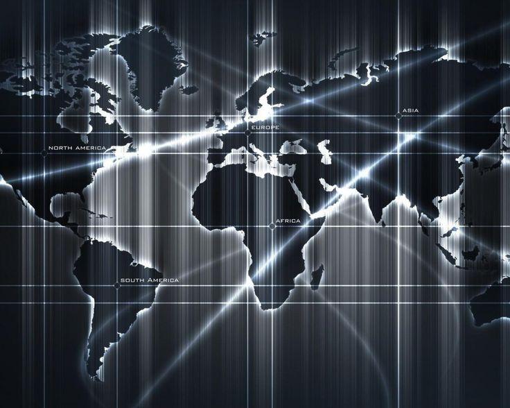 карта, мир, свет, линии