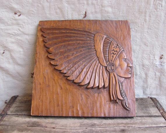 Vintage Carved Wood Plaque Cigar Store Indian Wood