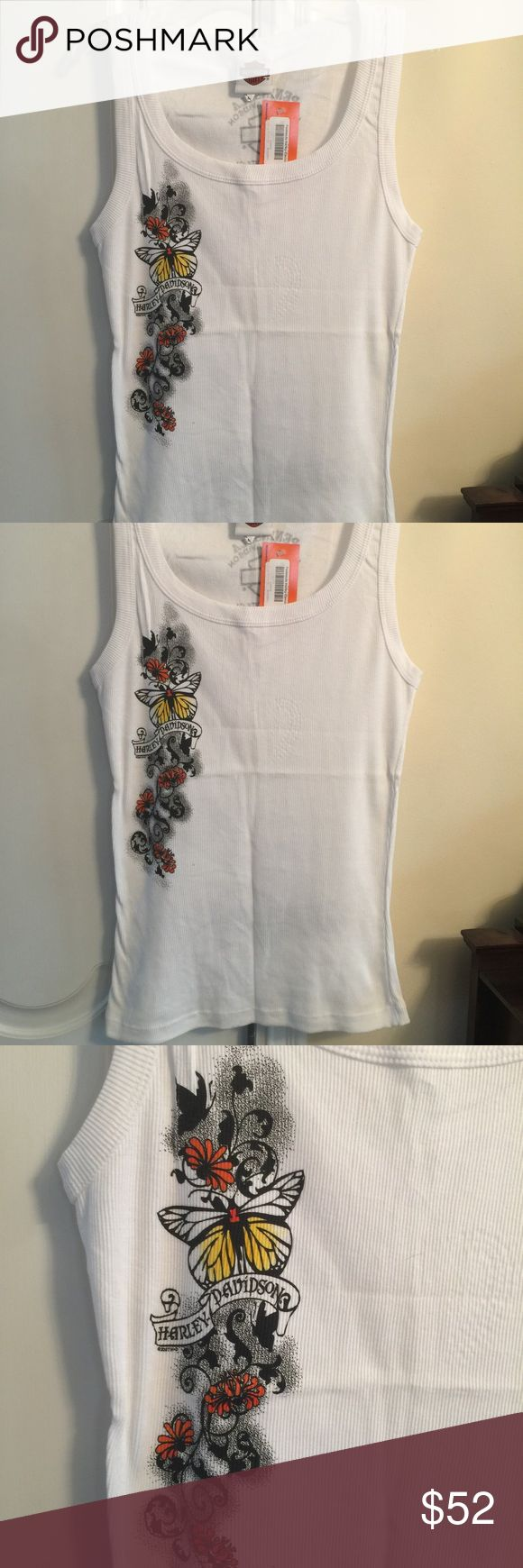 NWT Women's Harley Davidson Ribber Tank Top Super cute. NEW with tattoo detail down the side and on the bottom of the back.  Ribbed cotton. Harley-Davidson Tops Tank Tops