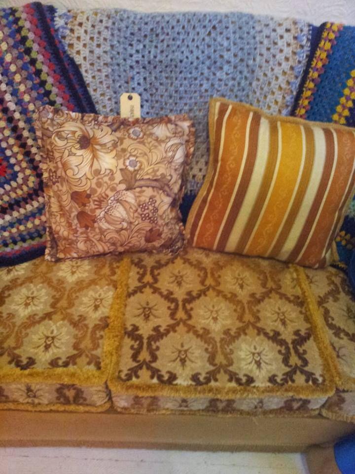 vintage cushions just £7 each handmade crochet throws £20 each