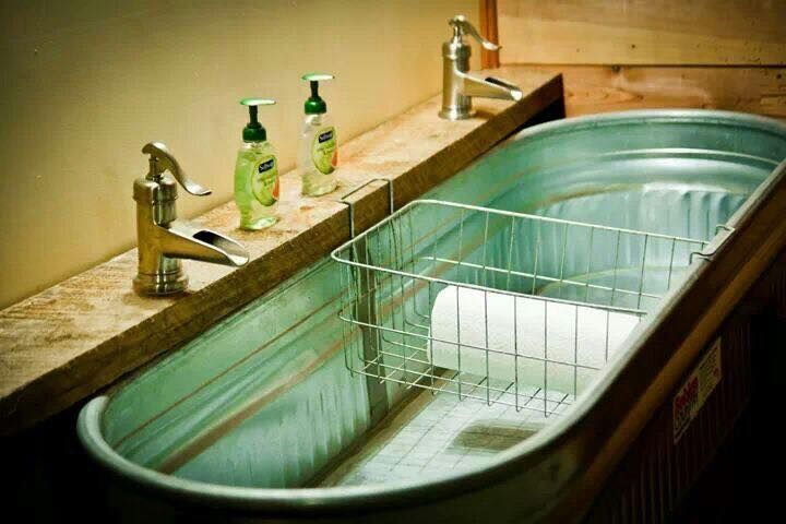 The 25 best galvanized water tank ideas on pinterest for Galvanized tub kitchen sink