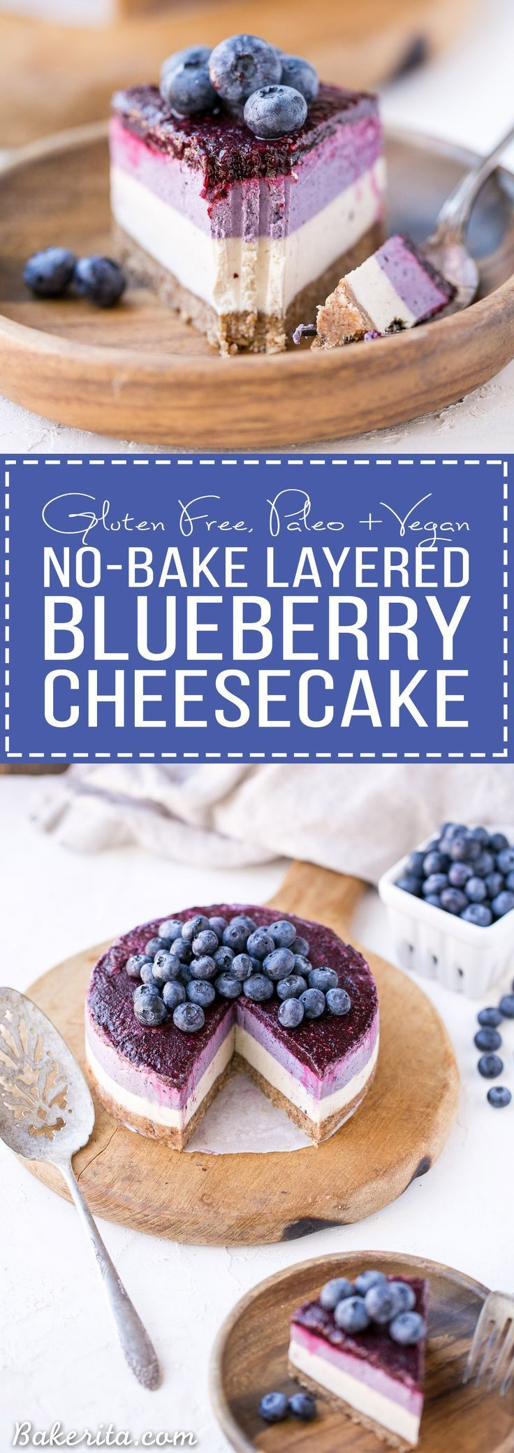 This No-Bake Layered Blueberry Cheesecake is a beautiful and easy-to-make Paleo-friendly + vegan cheesecake made with soaked cashews! The cheesecake layers are lusciously smooth and creamy with a tart