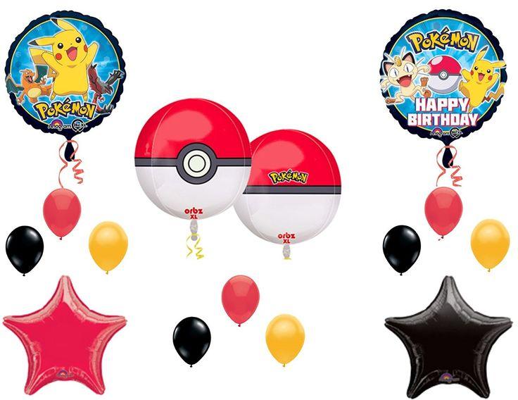 """Amazon.com: """"Orbz"""" POKEMON GO Birthday Party Balloons Decoration Supplies Pikachu Game: Toys & Games"""