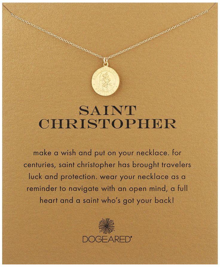 "Dogeared Saint Christopher Necklace Saint Christopher Gold, 18"". Made in United States. saint christopher necklace, saint christopher, GD, 18"". Made in USA."