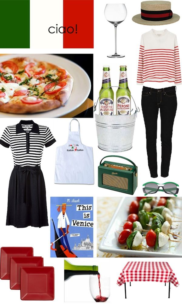italian inspiration, stripes, venice caprese salad, peroni, Kristen Giorgi, red plates, vino, wine glass