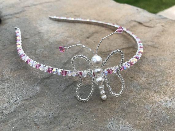 Butterfly Tiara Handmade Tiara Swarovski by Makewithlovecrafts - Flowergirl, bridesmaids, pink wedding accessories