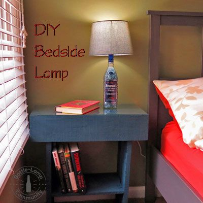 DIY Bedside Lamp - click to check out the step by step instructions.  #bedroom #bedside #diy #lamp #bedsidelamps #diybedsidelamps #bottlecrafts #bedroomdecor #decorations #decoranting #decorationideas #Lampe
