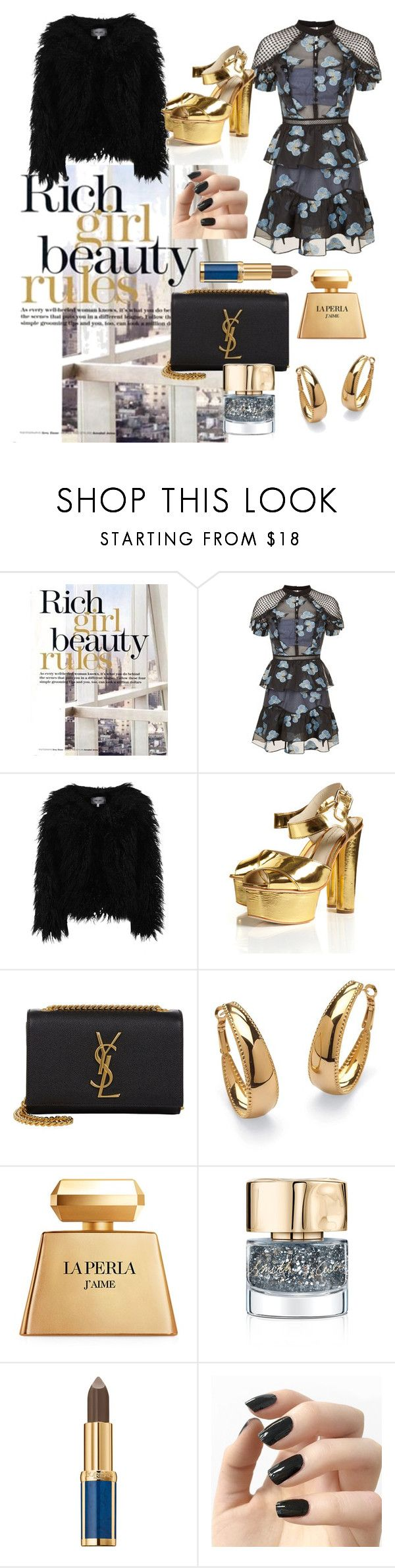 """""""rich and gold"""" by samantha-mcdee ❤ liked on Polyvore featuring self-portrait, Dry Lake, Yves Saint Laurent, Palm Beach Jewelry, La Perla, Smith & Cult, Balmain and Incoco"""