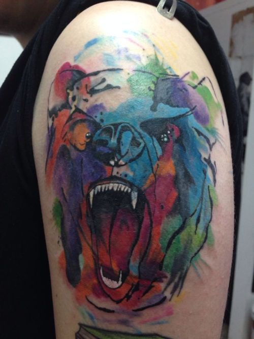 Colored angry bear tattoo, first session. Still missing a little...