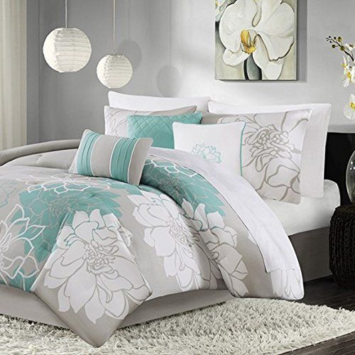 madison park mp102640 lola 7 piece print comforter set king aqua eye