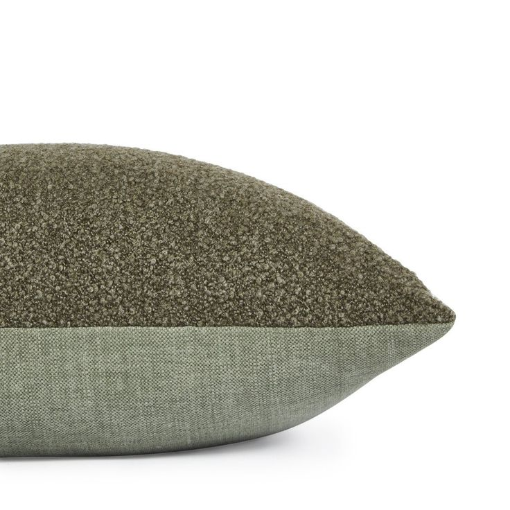"""Clover"" textured euro cushion by Nathan + Jac. Proudly made in Melbourne. 60 x 60cm. Reversible design. Boucle wool blend, front/cotton back, moss and sage green. Gold Zip."