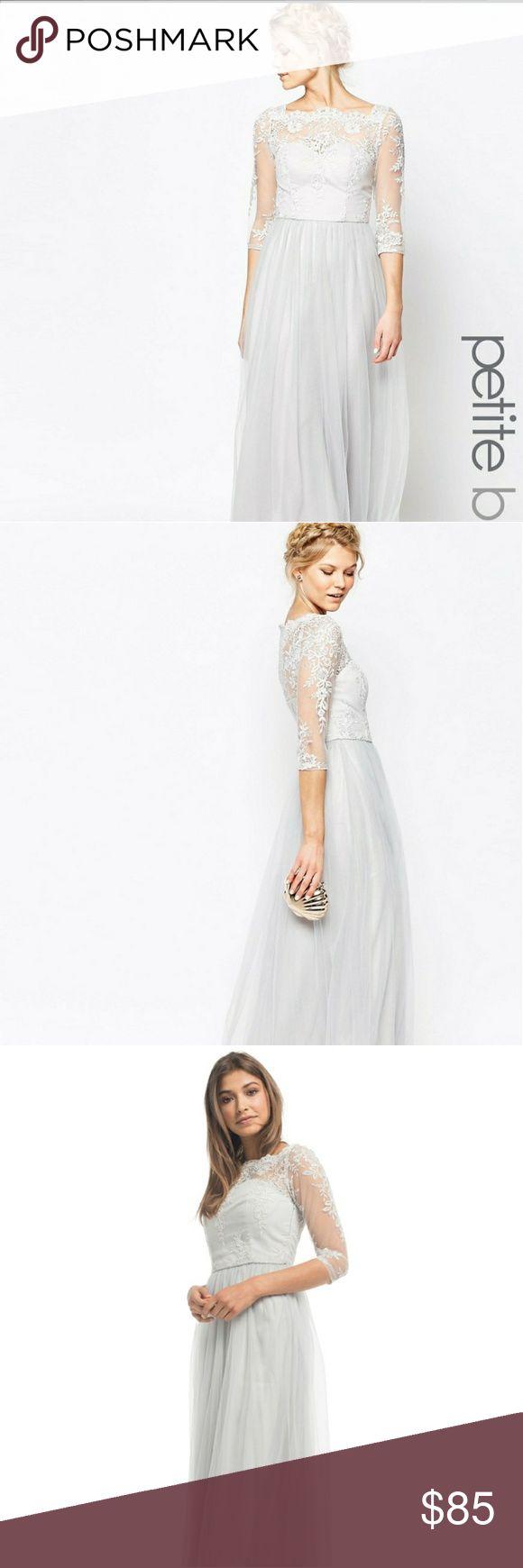 asos chi chi london petite long dress size 6us Beautiful chi chi London petite size 6us /10 uk dress, perfect special occasion dress: bridesmaid, wedding guest . Color is a light gray. ASOS Petite Dresses Maxi