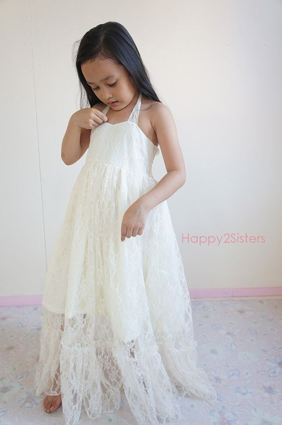 I like this one, comes in Ivory, Champagne or Off White. Maybe add a navy rosette or something? Ivory Flower girl dress Rustic flower girl dress by Happy2sisters