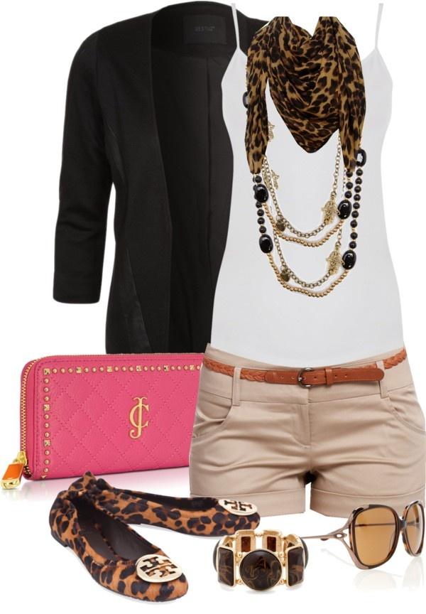 Tan Shorts, White Cami, black sweater, Leopard Print Scarf & shoes