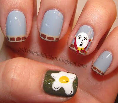 Humpty Dumpty NailsPolish Art, Nails Art Tutorials, Things Nails, Dumpty Nails, Beautiful Nails, Nails Design, Art Addict, Humpty Dumpty, Nails Polish