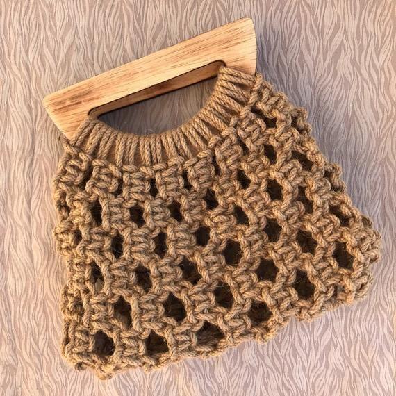 Jute macrome bag, handmade bag, macrame clutch with wooden hanger