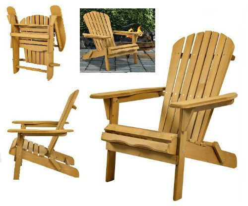 Wooden Folding Patio Adirondack Deck Chair Outdoor Furniture Pool  Lawn Seat Fir #Unbranded
