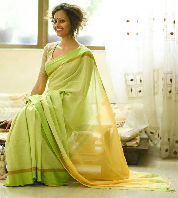 Gorgeous Yellow and Spring Green Handloom Cotton Saree by Suta