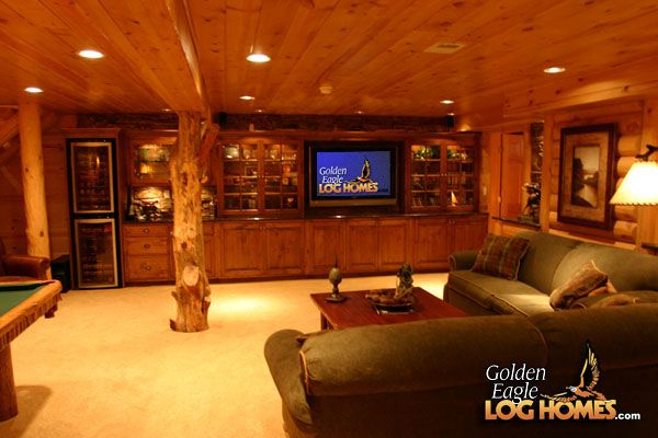 Image detail for golden eagle log homes log home cabin for Log cabin basement ideas