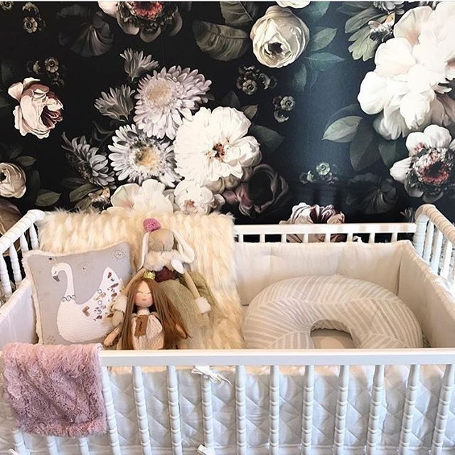 Saying 'yes' to dark floral wallpaper in nurseries. How gorgeous!