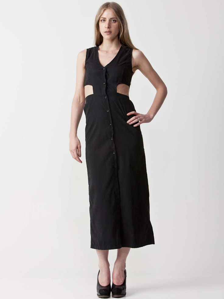 Brooke - Cutout Maxi Dress with v-neckline.  Unique side cutouts with button up front.  Regular fit cut and sleeveless styling. $71.50