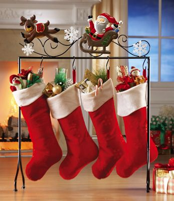 santa u0026 reindeer floor stocking holder - Stocking Hangers For Mantle