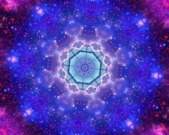 Mandala Space Galaxy Print / Meditation Yoga by PranaDana on Etsy