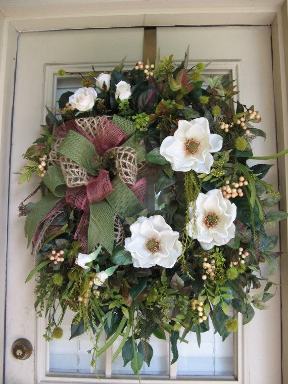 Spring, Summer, Everyday Wreath, Country, Rustic, Magnolia, Wreath