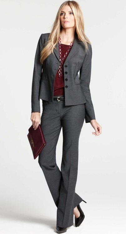 Don't think I need a full-on powersuit, but I like the look. Dark Grey Suit, Ann Taylor