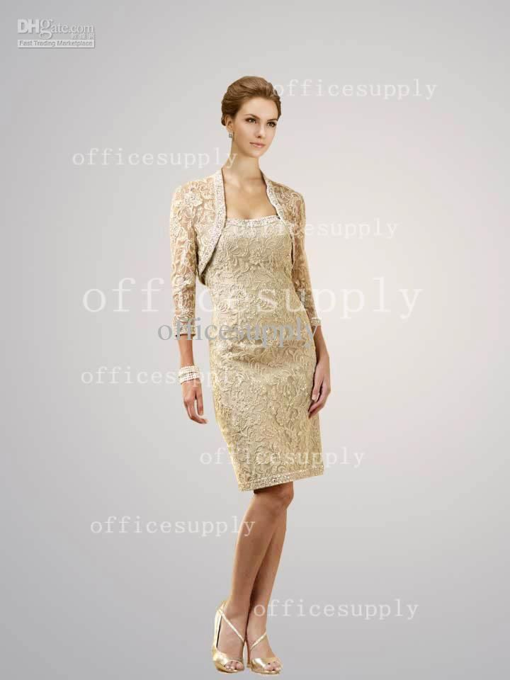 Whole Bride Dress Sweetheart Champagne Mother Of The Dresses With Lace Belero Jacket
