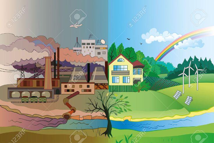 Ökológia Fogalma Vektor: A Városi és A Falusi Táj. A Környezetszennyezés és Környezetvédelem. Royalty Free Clip Artok, Vektorokt és Stock Illusztrációk. Image 37572141.