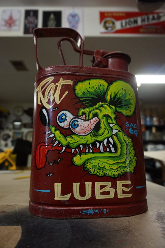 """Hand painted Garage Art """"Rat Lube"""" vintage gas can"""